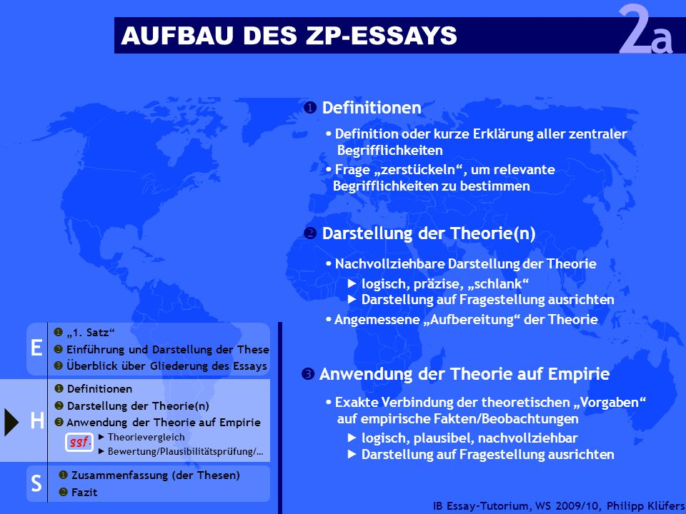 2 a AUFBAU DES ZP-ESSAYS E H S  Definitionen
