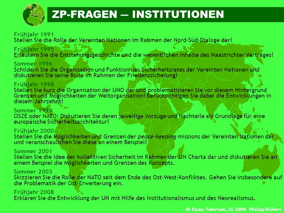 ZP-FRAGEN ― INSTITUTIONEN