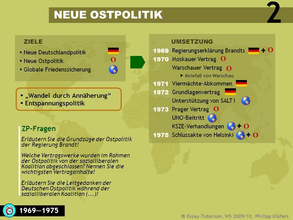 2 NEUE OSTPOLITIK + O O O O O + O ZP-Fragen + O 1969―1975