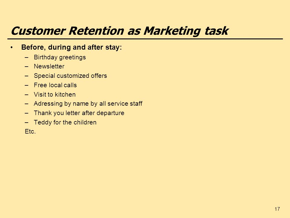 Customer Retention as Marketing task