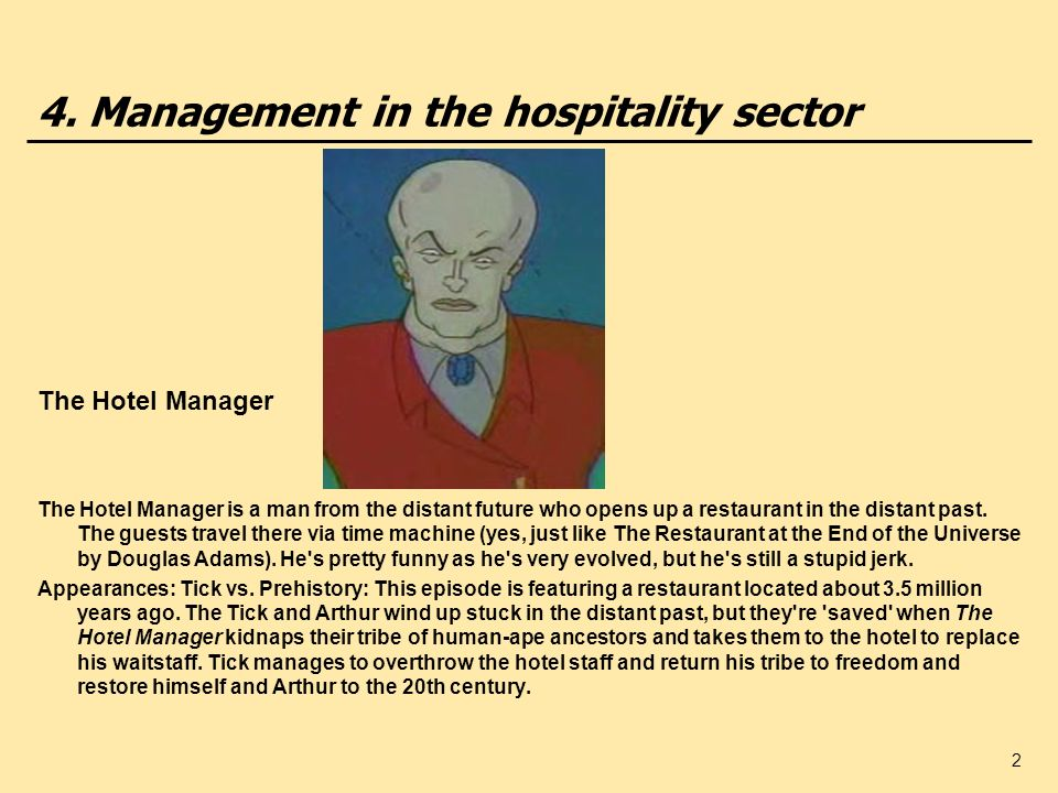 4. Management in the hospitality sector