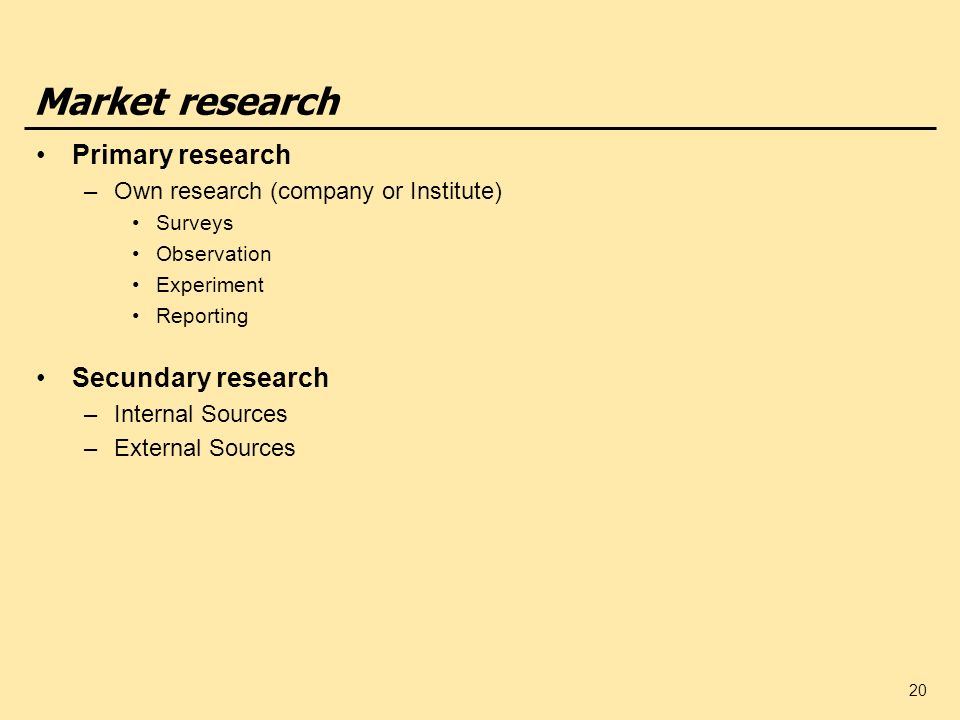 Market research Primary research Secundary research