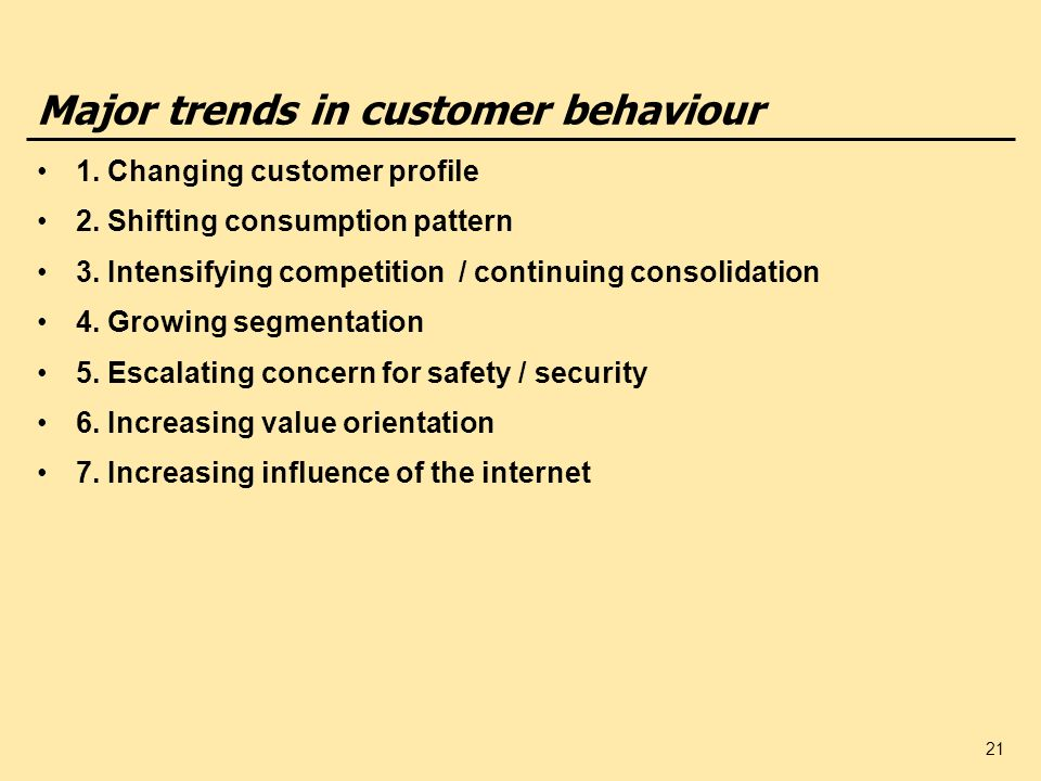 Major trends in customer behaviour
