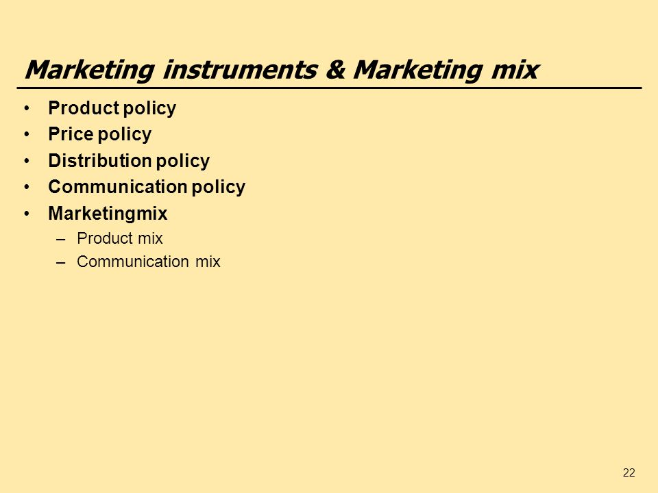 Marketing instruments & Marketing mix