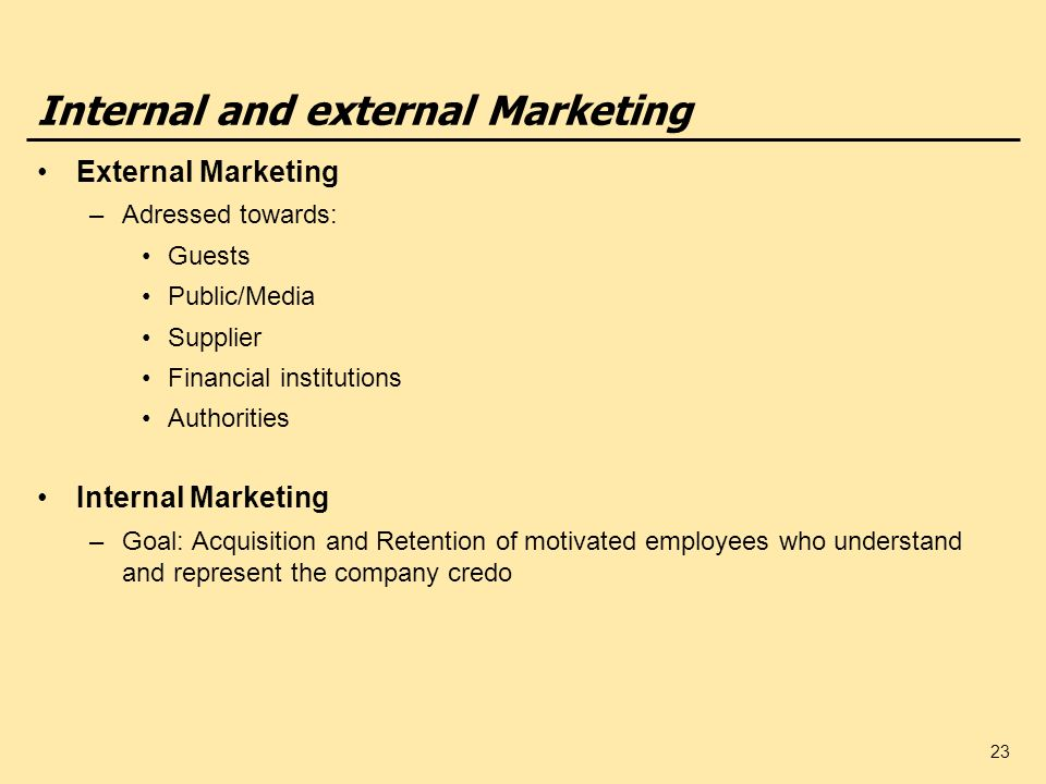 Internal and external Marketing