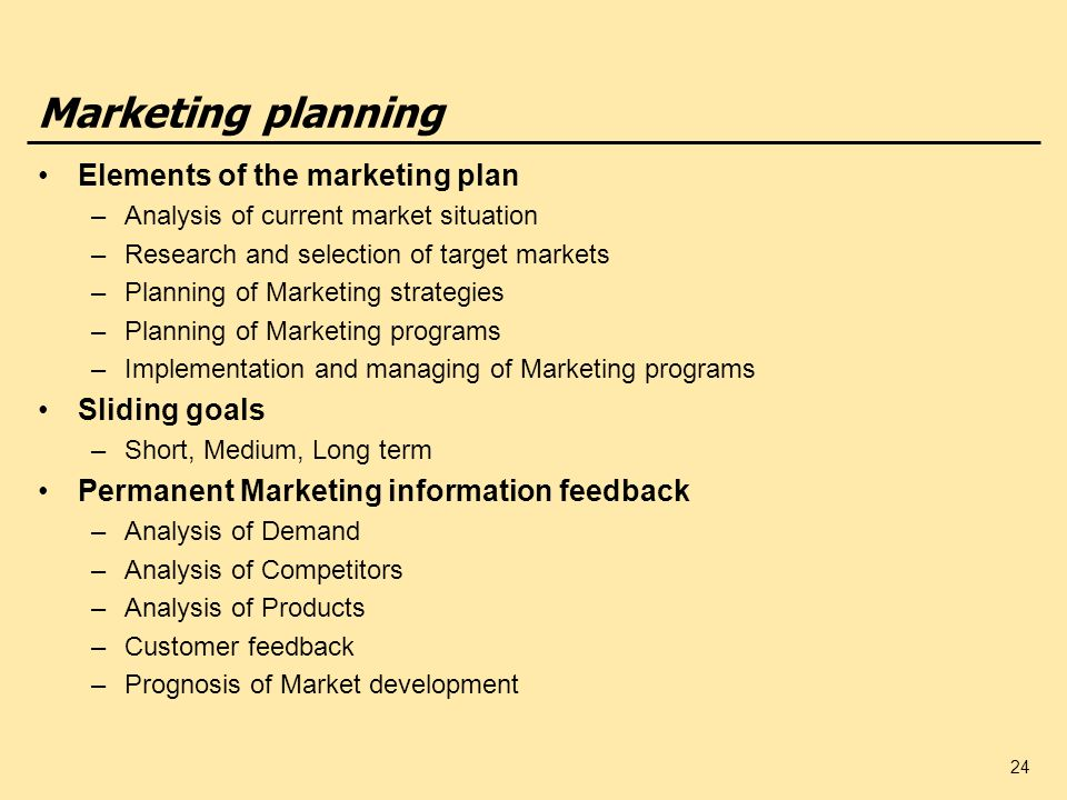 Marketing planning Elements of the marketing plan Sliding goals