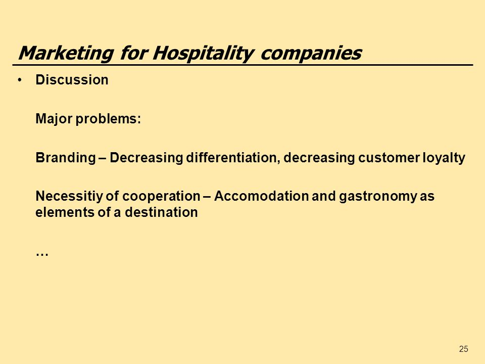 Marketing for Hospitality companies