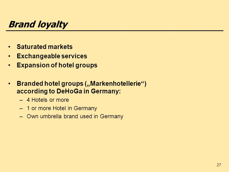 Brand loyalty Saturated markets Exchangeable services