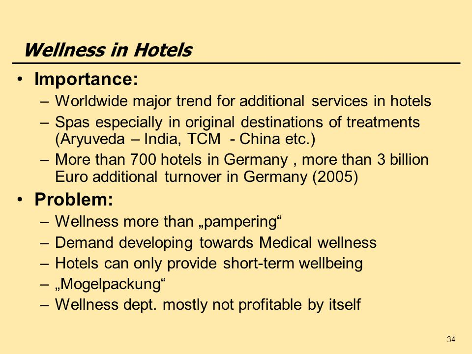 Wellness in Hotels Importance: Problem: