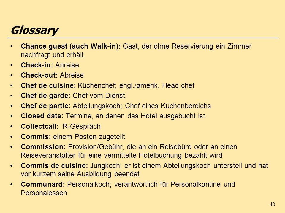 Glossary Chance guest (auch Walk-in): Gast, der ohne Reservierung ein Zimmer nachfragt und erhält. Check-in: Anreise.