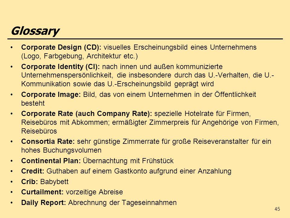Glossary Corporate Design (CD): visuelles Erscheinungsbild eines Unternehmens (Logo, Farbgebung, Architektur etc.)