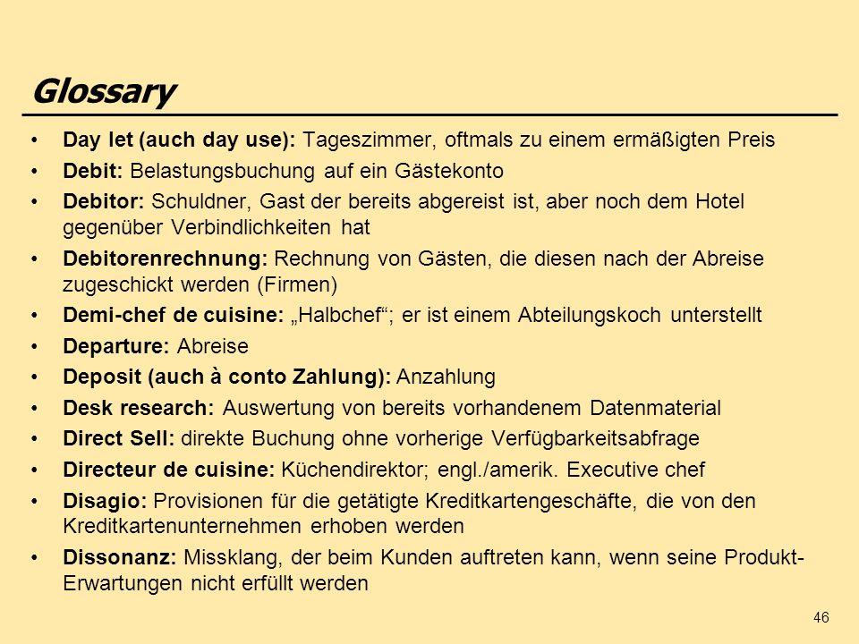 Glossary Day let (auch day use): Tageszimmer, oftmals zu einem ermäßigten Preis. Debit: Belastungsbuchung auf ein Gästekonto.