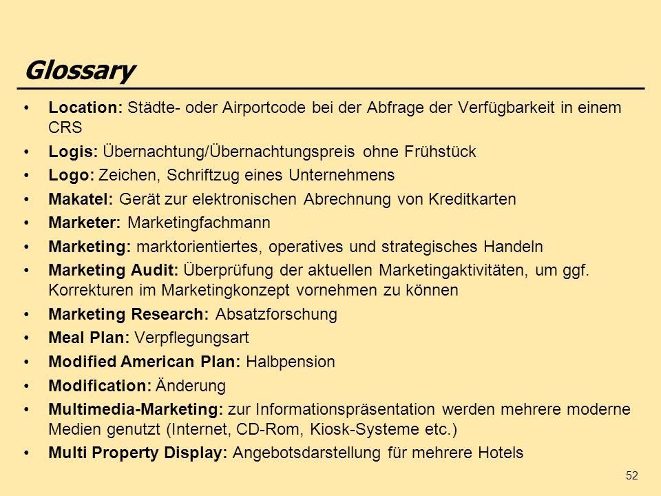 Glossary Location: Städte- oder Airportcode bei der Abfrage der Verfügbarkeit in einem CRS. Logis: Übernachtung/Übernachtungspreis ohne Frühstück.