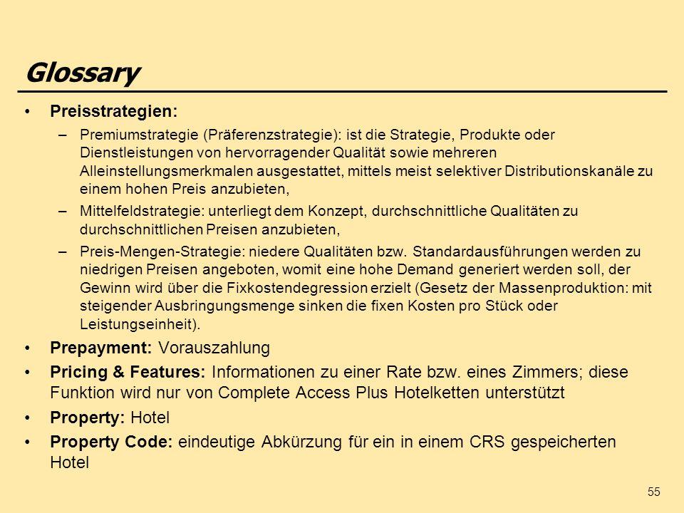 Glossary Preisstrategien: Prepayment: Vorauszahlung