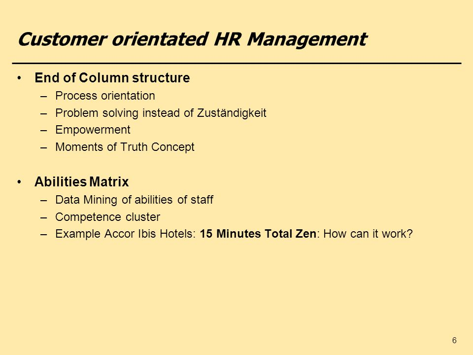 Customer orientated HR Management