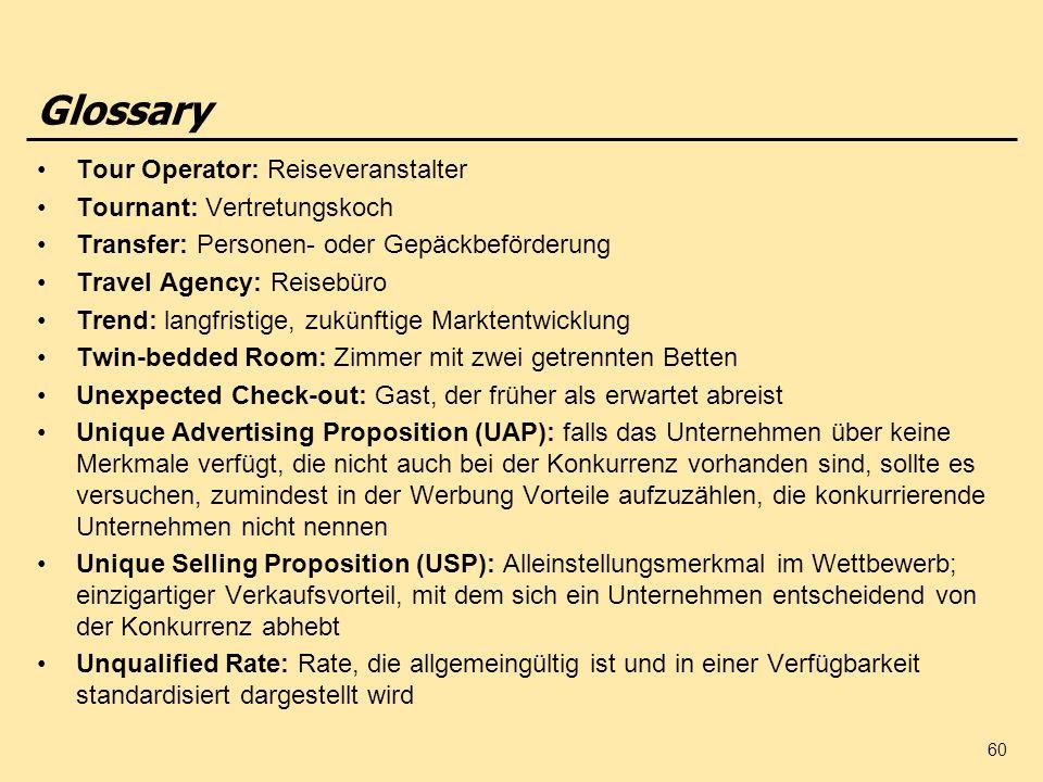 Glossary Tour Operator: Reiseveranstalter Tournant: Vertretungskoch