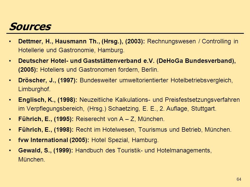 Sources Dettmer, H., Hausmann Th., (Hrsg.), (2003): Rechnungswesen / Controlling in Hotellerie und Gastronomie, Hamburg.
