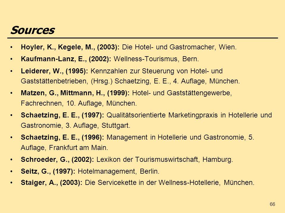 Sources Hoyler, K., Kegele, M., (2003): Die Hotel- und Gastromacher, Wien. Kaufmann-Lanz, E., (2002): Wellness-Tourismus, Bern.