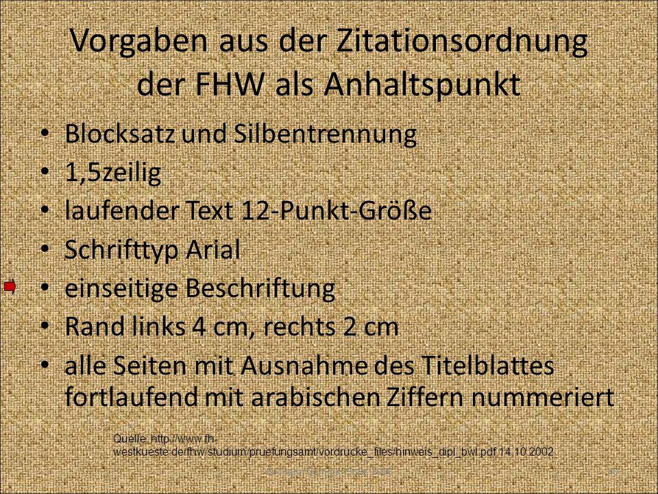 Vorgaben aus der Zitationsordnung der FHW als Anhaltspunkt