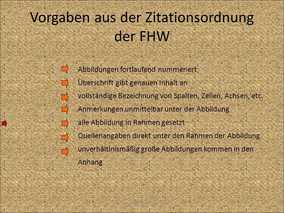 Vorgaben aus der Zitationsordnung der FHW