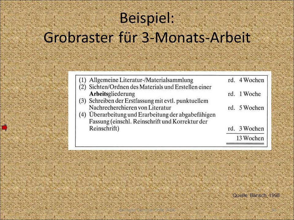 Beispiel: Grobraster für 3-Monats-Arbeit