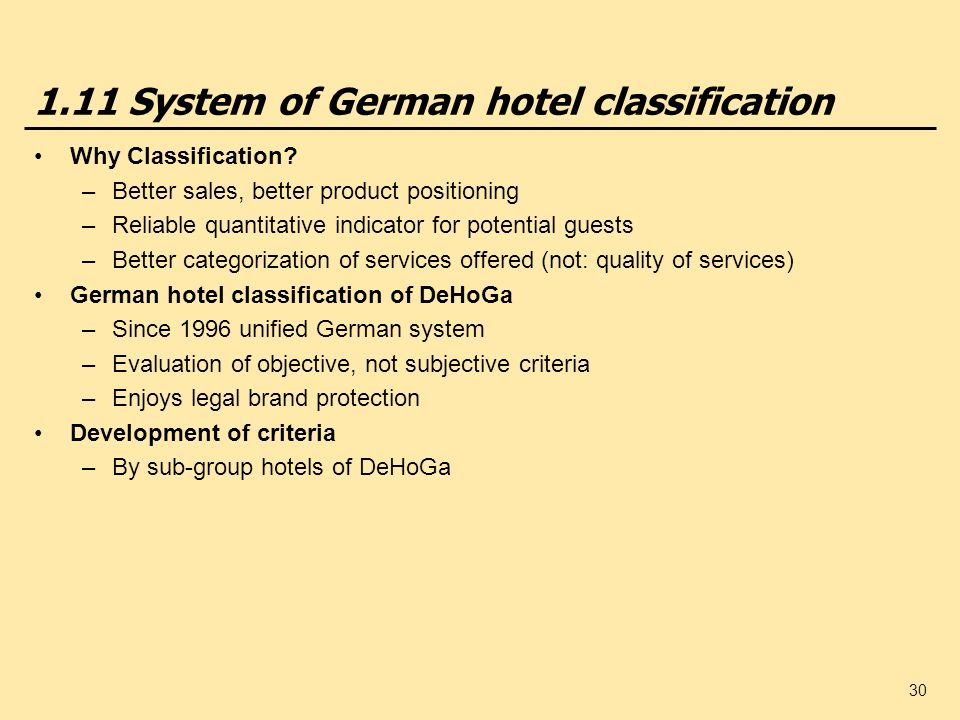 1.11 System of German hotel classification