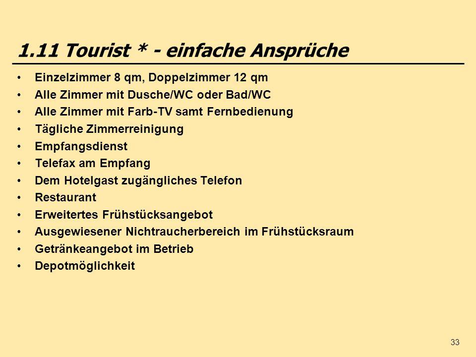 1.11 Tourist * - einfache Ansprüche