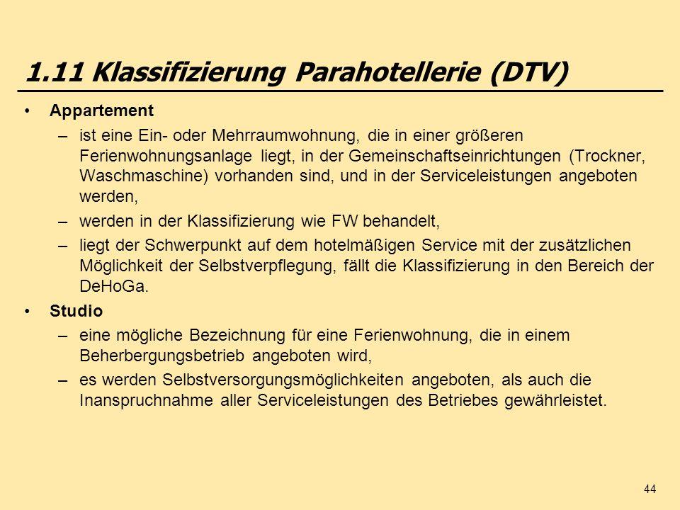 1.11 Klassifizierung Parahotellerie (DTV)
