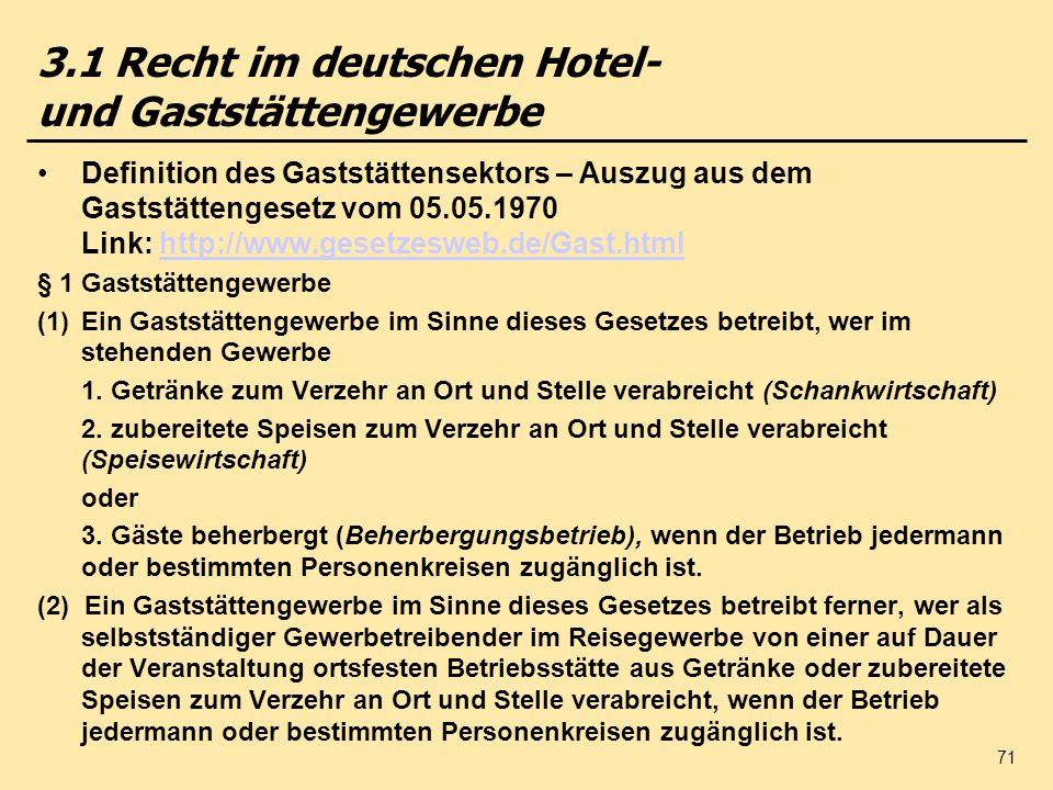 3.1 Recht im deutschen Hotel- und Gaststättengewerbe