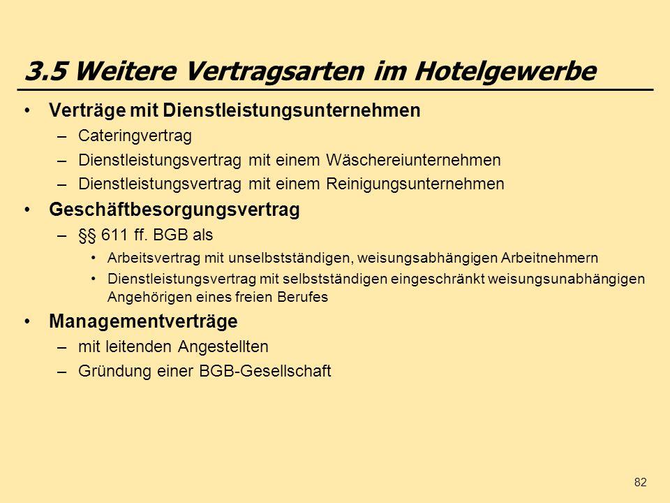3.5 Weitere Vertragsarten im Hotelgewerbe