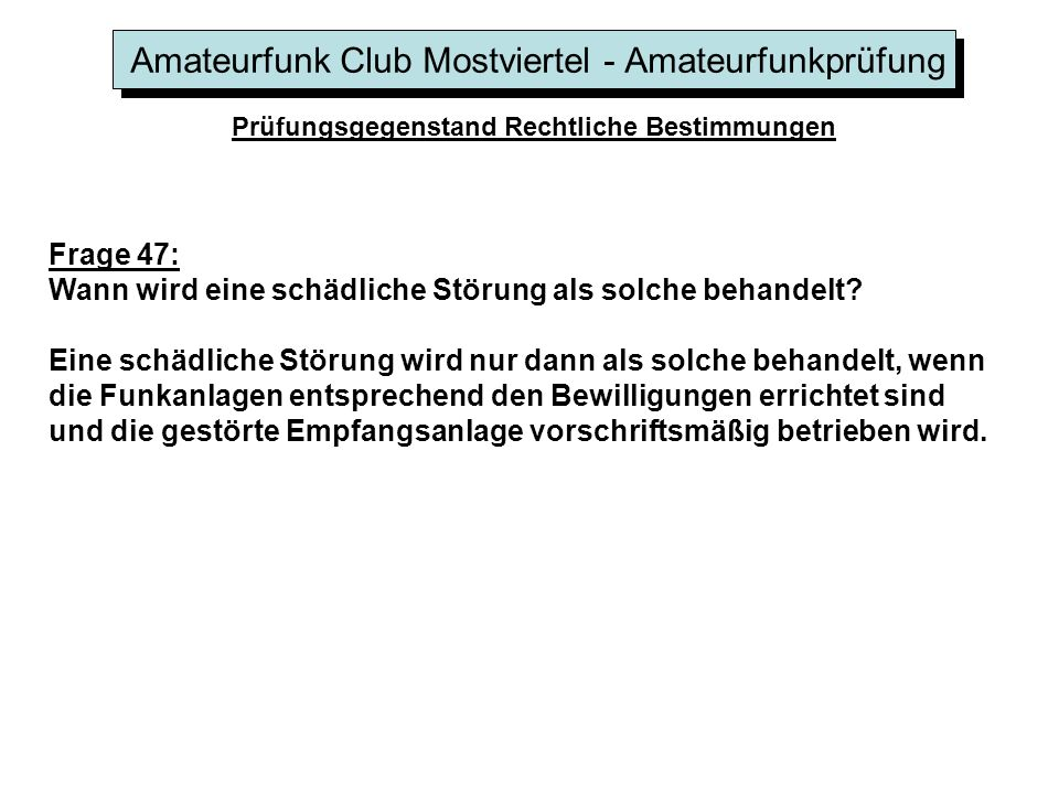 Amateurfunk Club Mostviertel - Amateurfunkprüfung