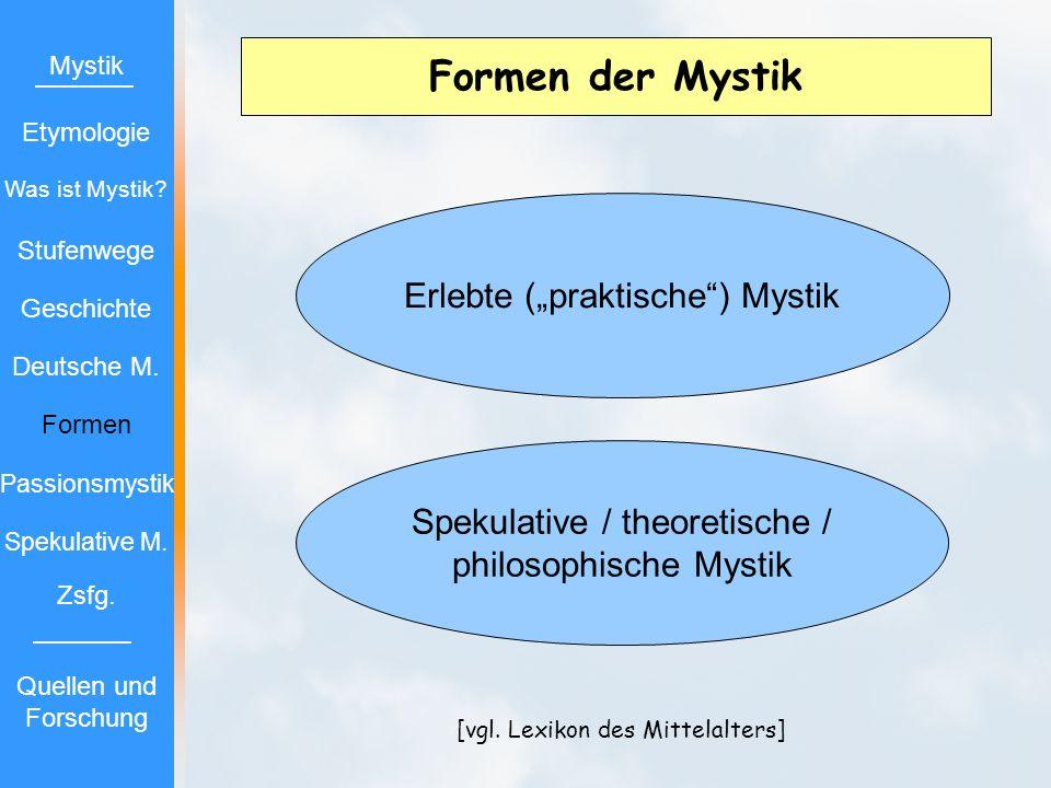 """Formen der Mystik Erlebte (""""praktische ) Mystik"""