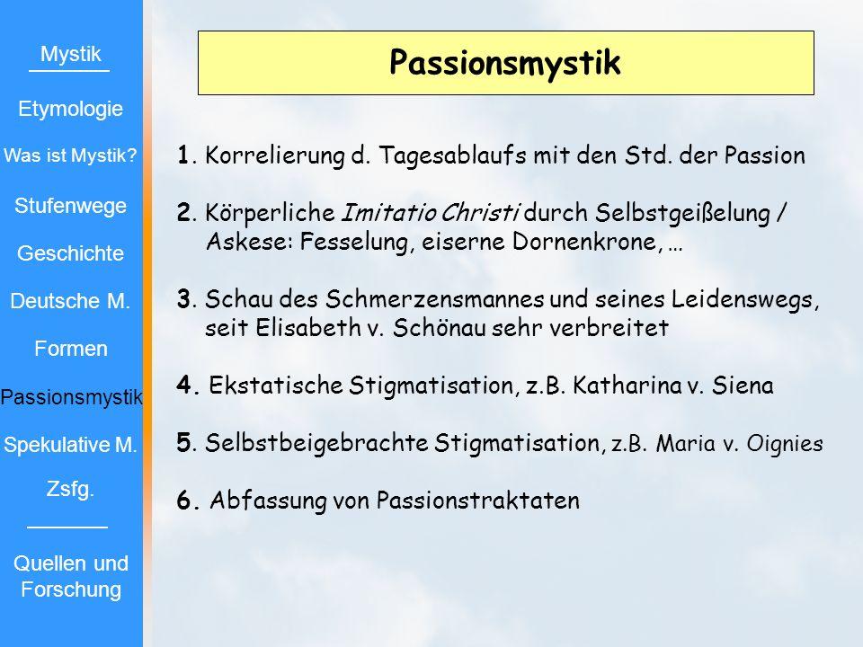 Passionsmystik Mystik. Etymologie. Was ist Mystik 1. Korrelierung d. Tagesablaufs mit den Std. der Passion.