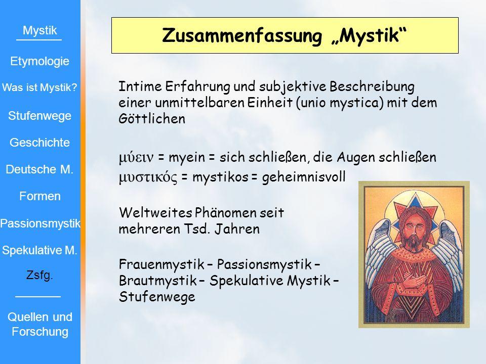 """Zusammenfassung """"Mystik"""