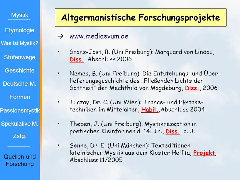 Altgermanistische Forschungsprojekte