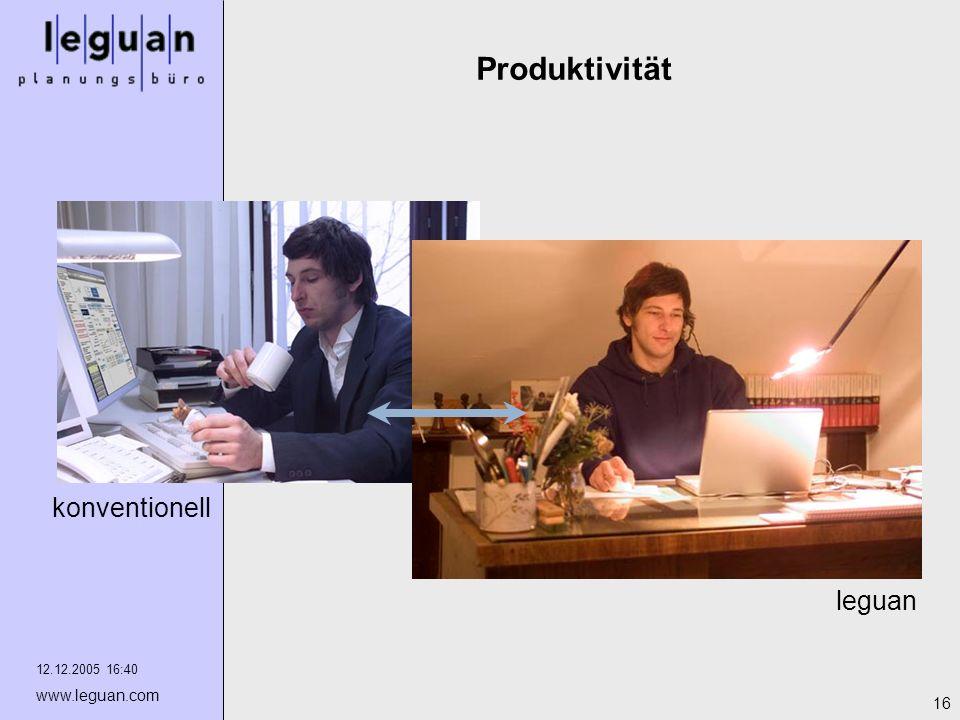 Produktivität konventionell leguan 12.12.2005 16:40 www.leguan.com