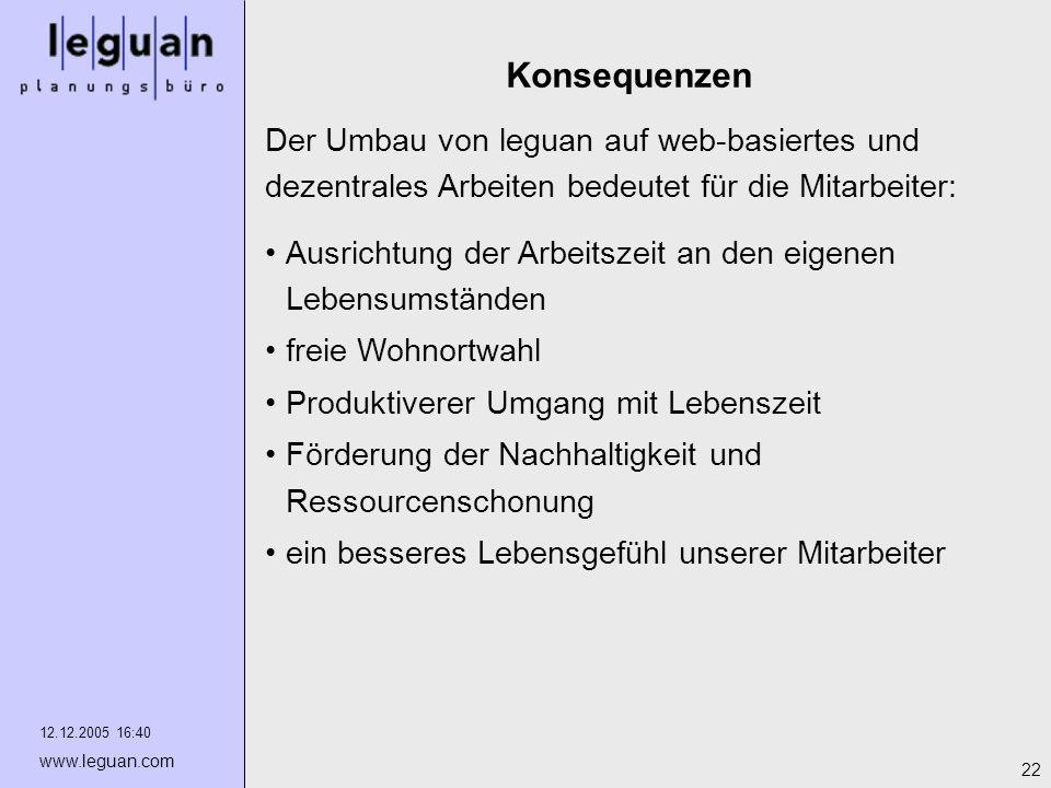 KonsequenzenDer Umbau von leguan auf web-basiertes und dezentrales Arbeiten bedeutet für die Mitarbeiter: