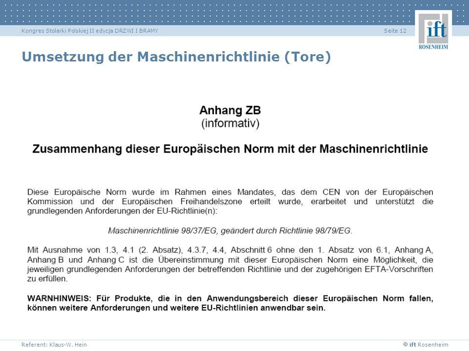 Umsetzung der Maschinenrichtlinie (Tore)