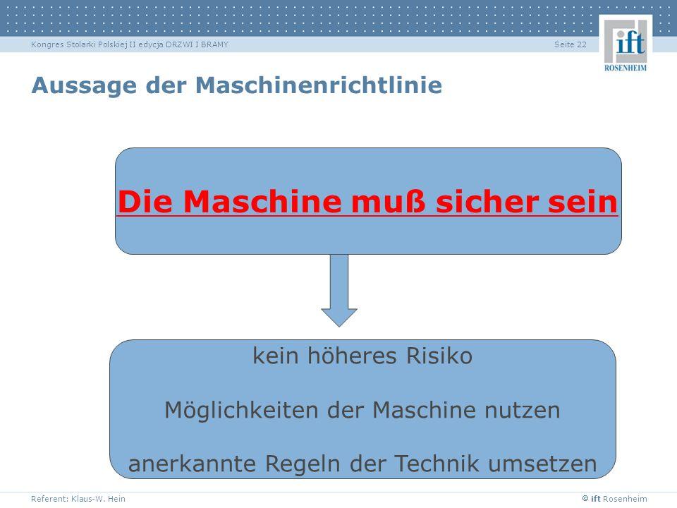 Aussage der Maschinenrichtlinie