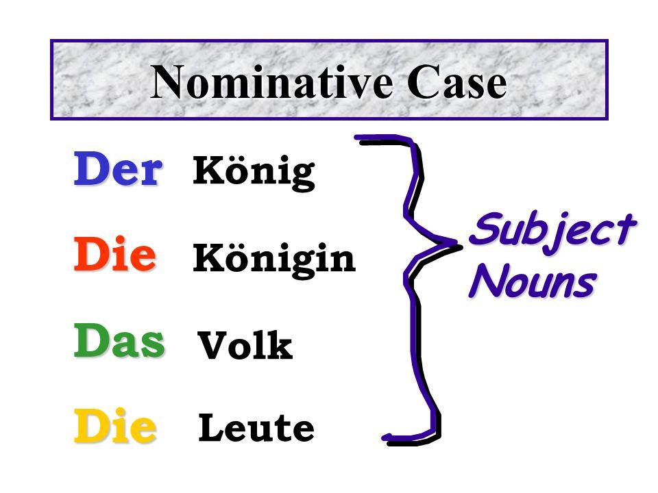Nominative Case Der Die Das Subject Nouns König Königin Volk Leute