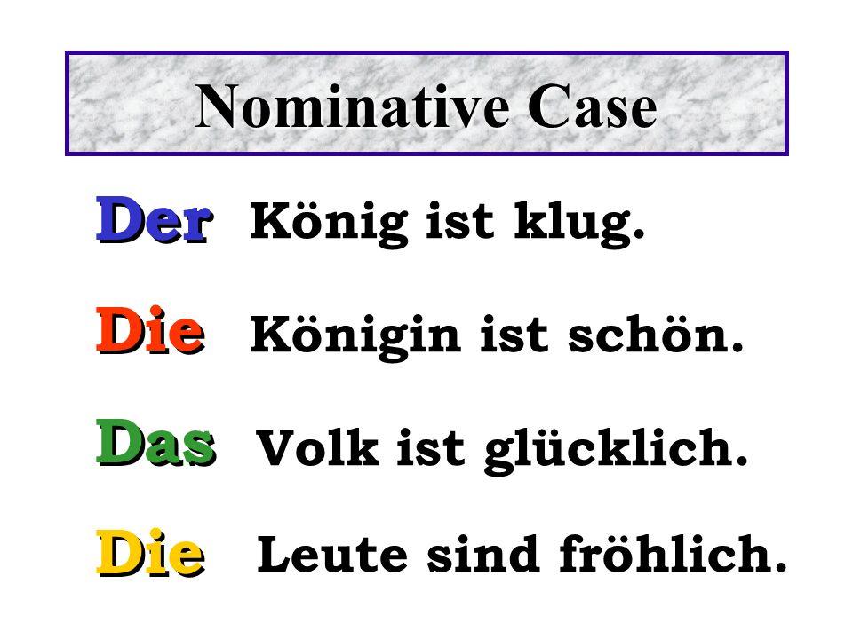 Nominative Case Der Die Das König ist klug. Königin ist schön.
