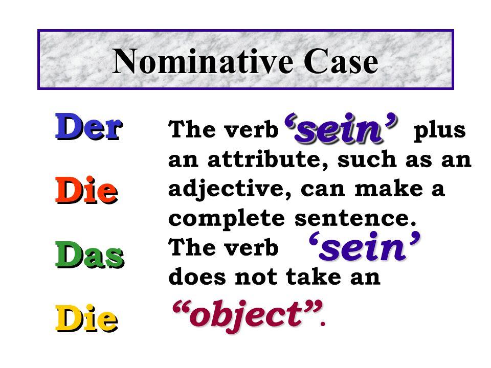 'sein' 'sein' Nominative Case Der Die Das
