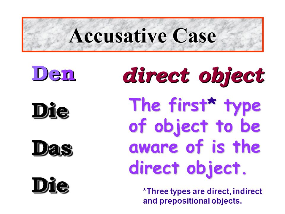 Accusative Case Den direct object Die Das