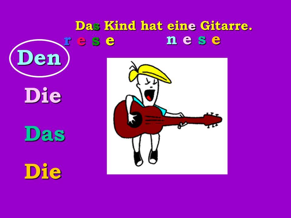Das Kind hat eine Gitarre.