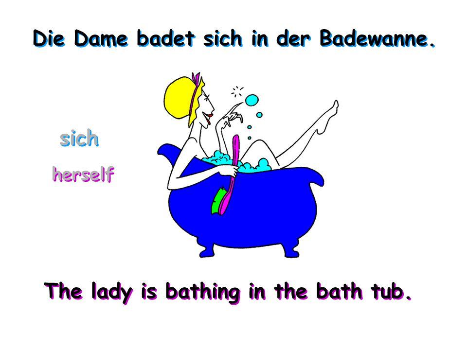 Die Dame badet sich in der Badewanne.