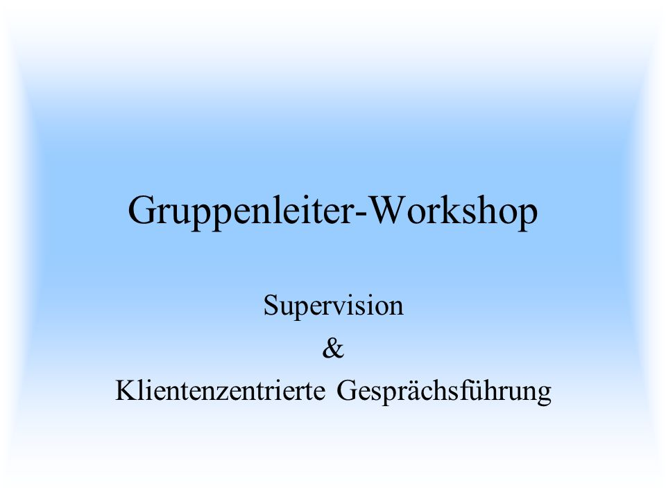 Gruppenleiter-Workshop
