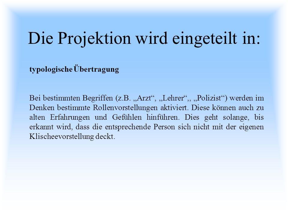 Die Projektion wird eingeteilt in: