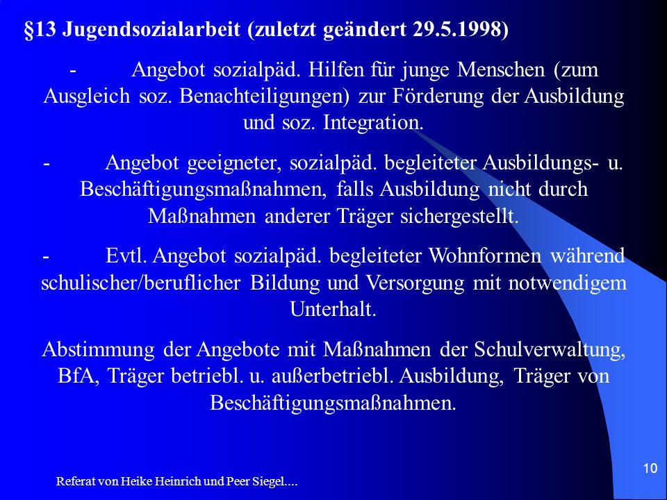 §13 Jugendsozialarbeit (zuletzt geändert 29.5.1998)