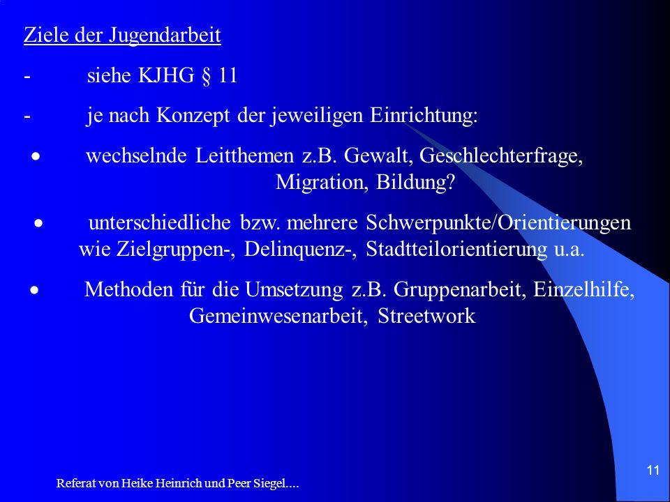 Ziele der Jugendarbeit - siehe KJHG § 11