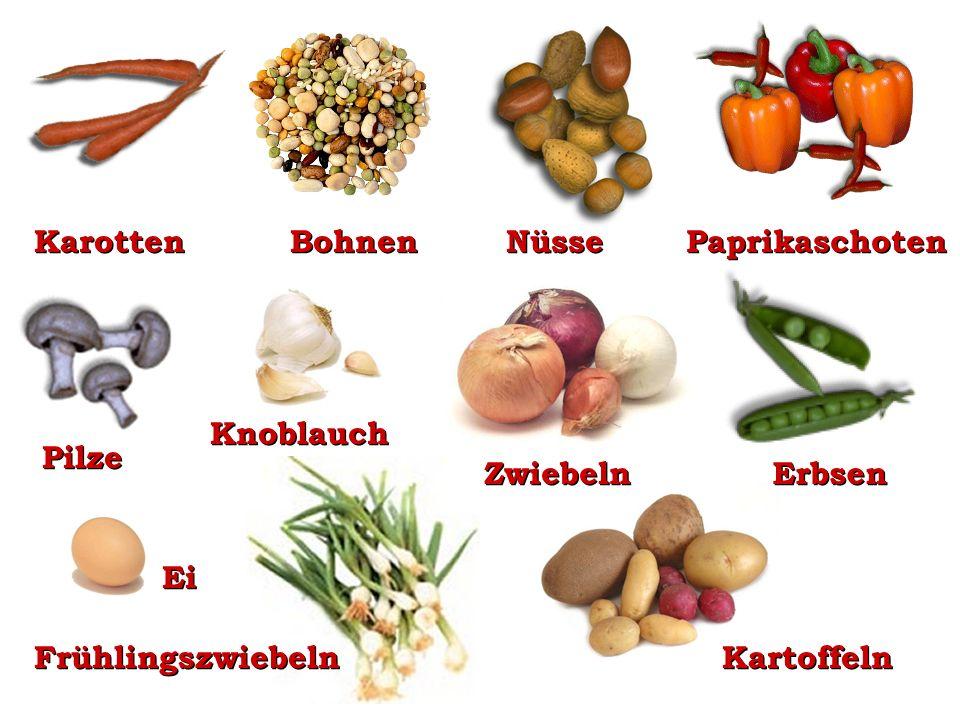 Karotten Bohnen Nüsse Paprikaschoten Knoblauch Pilze Zwiebeln Erbsen